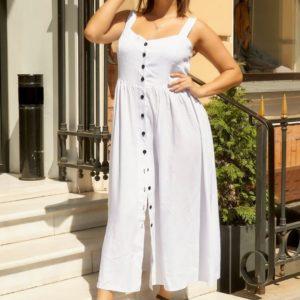 Приобрести в интернет-магазине женский на пуговицах сарафан белого цвета размеров больших дешево