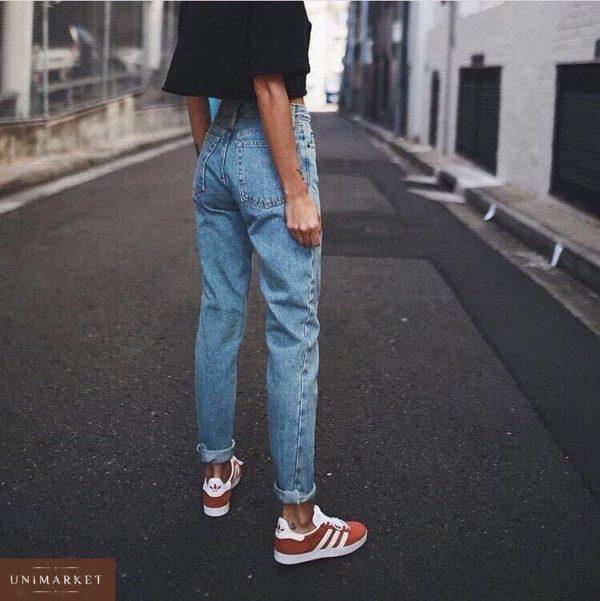 Приобрести дешево женские джинсы голубые мом с талией высокой оптом Украина