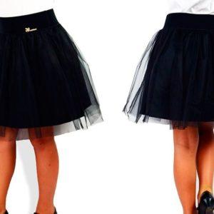 Заказать в подарок детскую юбку школьную с фатином двойную для девочек черного цвета дешево