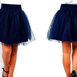 Приобрести недорого юбку детскую школьную двойная с фатином для девочек синего цвета оптом Украина