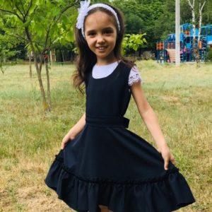 Приобрести недорого сарафан школьный детский клеш с ободком синего цвета оптом Украина