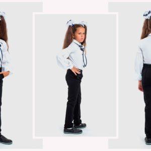 Приобрести недорого детские брюки школьные из итальянского трикотажа для девочки черного цвета дешево