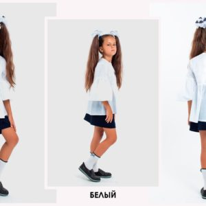 Приобрести недорого блузу на завязочках детскую школьную, снизу удлиненную белого цвета оптом Украина
