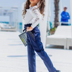 Заказать в подарок брюки заниженные снизу детские школьные с завышенной талией цвета синего недорого