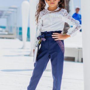 Купить дешево брюки с завышенной талией детские школьные и заниженные снизу синего цвета в подарок