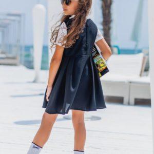 Приобрести недорого детское школьное платье с коротким рукавом из габардина для девочек синего цвета дешево