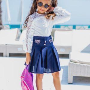 Приобрести недорого юбку детскую школьную из габардина с высокой посадкой синего цвета дешево