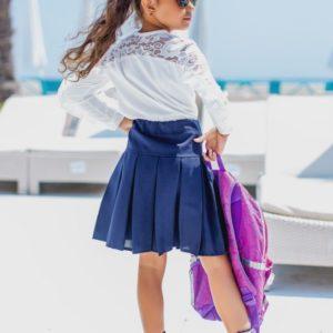 Заказать в подарок детскую юбку школьную из габардина с посадкой высокой цвета синего дешево