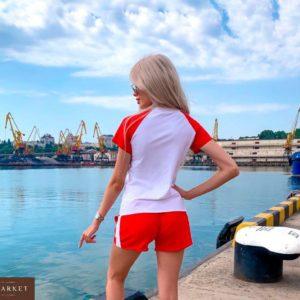 Приобрести дешево женский костюм трикотажный Гуччи с шортами цвета красного Украина