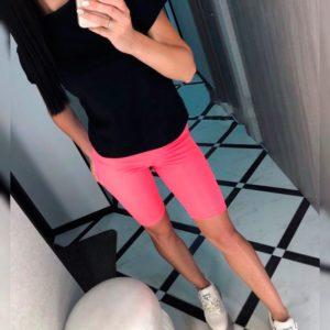 Заказать оптом шорты женские - велосипедки розово-неонового цвета из микродайвинга дешево