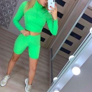 Приобрести дешево женский костюм (велосипедки + топ) из микродайвинга салатового цвета Украина