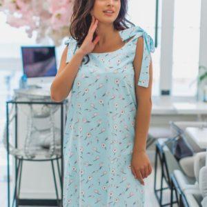 Приобрести в интернет-магазине женское на завязках платье с мелким принтом цвета голубого размеров больших дешево