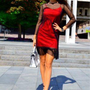 Заказать дешево женское платье двойка трикотажное с евросеткой цвета красного недорого