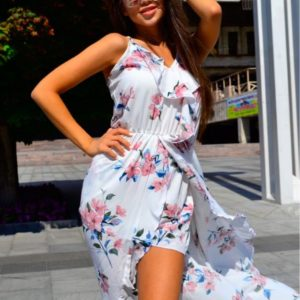 Приобрести в интернет-магазине летний женский сарафан из софта сзади удлиненный дешево