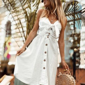Заказать недорого женское хлопковое платье на пуговицах белого цвета в подарок
