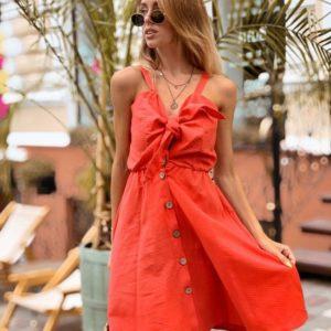 Купить в интернет-магазине женское на пуговицах хлопковое платье красного цвета недорого