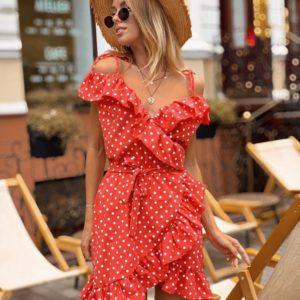 Приобрести дешево женское в горох платье из хлопка с оборками на запах цвета красного оптом Украина