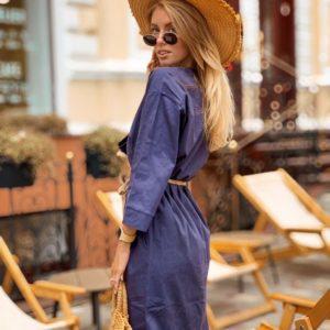 Купить в интернет-магазине женское платье на пуговицах миди из льна с поясом цвета синего недорого