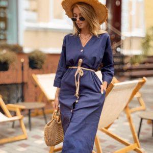 Приобрести дешево женское миди платье с поясом из льна и на пуговицах синего цвета оптом Украина