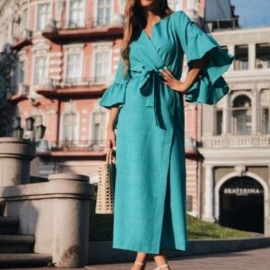 Приобрести дешево женское платье длинное - кардиган из льна габардин на руковах с оборками бирюзового цвета оптом Украина