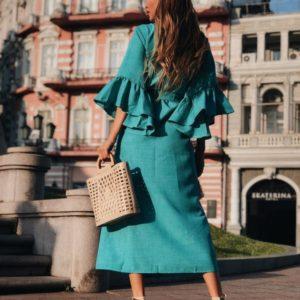 Заказать недорого женское длинное платье - кардиган из льна габардин с оборками на руковах цвета бирюзы в подарок