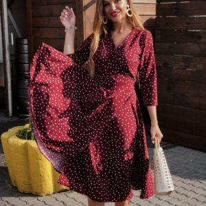 Приобрести дешево женское в стиле халат платье на запах в горох мелкий марсалового цвета оптом Украина