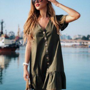 Приобрести дешево женское из тонкого хлопка платье с пуговицами деревянными цвета хаки оптом Украина