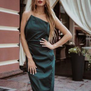 Купить в интернет-магазине женское платье корсетное вечернее из мемори коттон цвета бутылки недорого