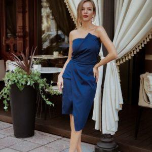 Приобрести дешево женское вечернее корсетное платье из мемори коттон синего цвета оптом Украина
