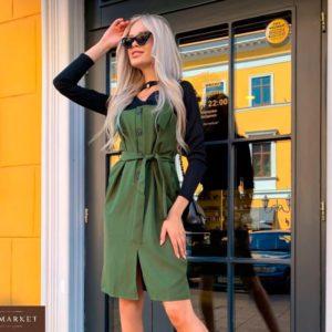 Купить в интернет-магазине женский сарафан с пуговицами из габардина и поясом цвета хаки недорого