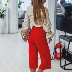 Приобрести кюлоты женские из стрейч джинса красного цвета с высокой талией Украина