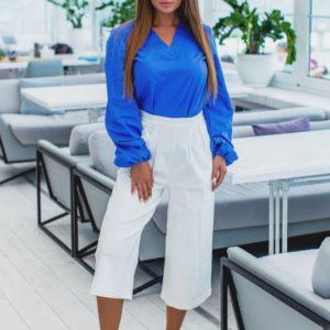 Приобрести в интернет-магазине женские кюлоты из джинса стрейч с высокой талией белого цвета дешево