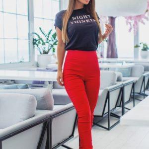 Купить недорого женские брюки с высокой посадкой из стрейч джинса красного цвета в подарок
