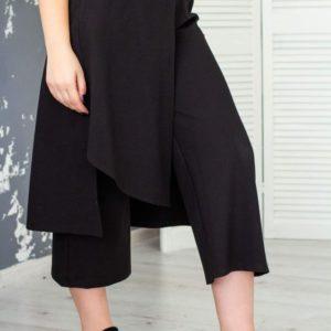 Приобрести в интернет-магазине женские брюки черные - с баской кюлоты дешево