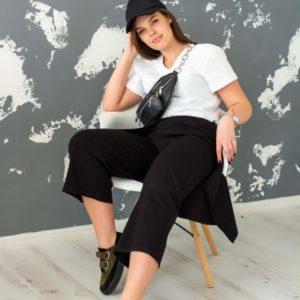 Заказать в подарок женские черные брюки - кюлоты с баской оптом Украина