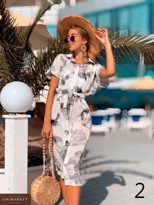 Купить недорого женское платье на пуговицах с поясом - рубашка миди из софта в подарок