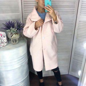 Заказать в интернет-магазине женское пальто oversize свободного кроя на подкладке цвета нежно-розового батал дешево