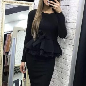 Заказать в интернет-магазине женский костюм из французского трикотажа, итальянское дорогое кружево цвета черного больших размеров дешево