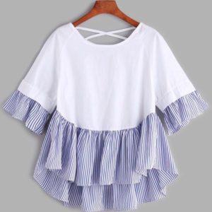 Приобрести дешево женскую из софта блузу белого цвета + полоска голубая больших размеров недорого