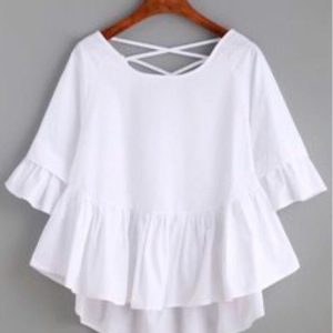 Заказать в интернет-магазине женскую блузу из софта белого цвета батал дешево