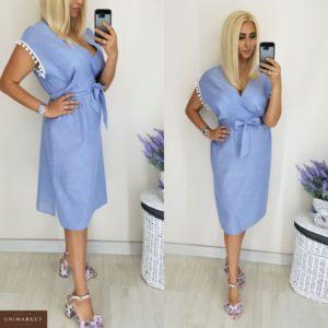 Приобрести дешево женское платье шикарное из льна 100% цвета голубого больших размеров недорого