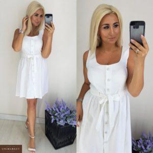 Заказать в интернет-магазине женское платье на кулиске из льна цвета белого батал дешево
