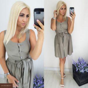 Приобрести дешево женское на кулиске платье из льна цвета мокко больших размеров недорого