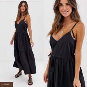 Заказать в интернет-магазине женский сарафан батал очень комфортный вшитый поясок регулируется цвет черный дешево