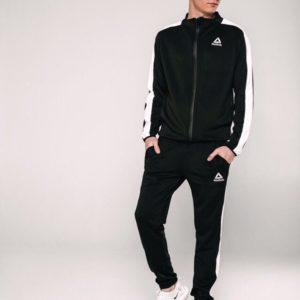 Купить дешево мужской костюм спортивный из трикотажа эластичного черного цвета батал недорого