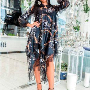 Купить оптом женское платье из софта + кружево ассиметрия низ батал в подарок