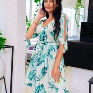 Заказать в интернет-магазине женское платье принт листья из софта цвет оливка батал дешево