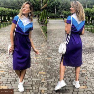 Заказать в интернет-магазине женское платье из льна пояс на резинке цвет фиолетовый батал дешево
