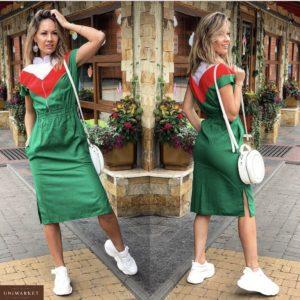 Приобрести дешево женское из льна платье на резинке пояс цвет зеленый больших размеров недорого