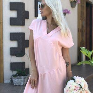 Заказать недорого сарафан женский свободного кроя цвета розового из софта размеров больших дешево